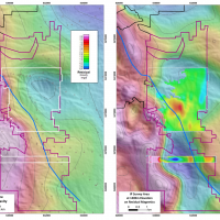 Figure 3. A property scale gravity image (left) highlights the location of a potential buried intrusive, which is shown as a blue embayment in the center of the figure. A regional, RTP, airborne magnetics image with an overlay of IP chargeability dat
