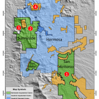 Figure 1. District claim map highlighting the approximate location of the Sunnyside, Ventura and Red Mountain porphyry copper deposits. The red circles highlight the location of the Cosmos target (1) as well as the Sunnyside (2), Ventura (3) and Red